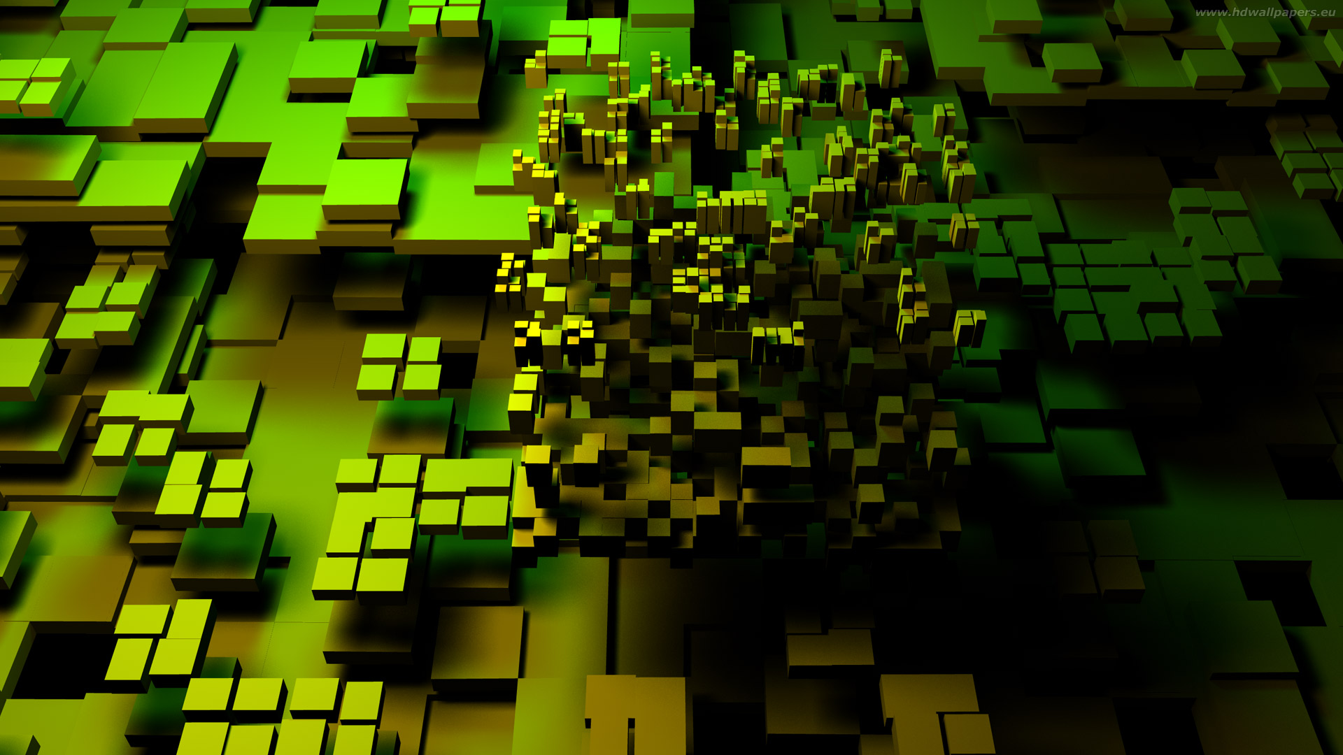 Abstract green 3D brick for your desktop